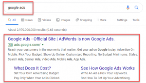 Google paid search ad